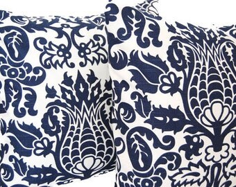 Throw pillows set of two 20 x 20 navy blue and white Amsterdam pillow covers
