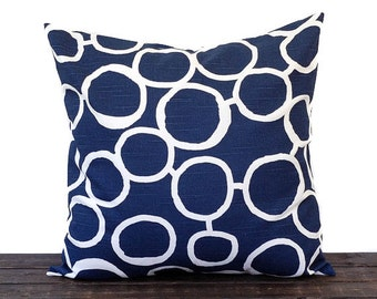 Navy pillow cover cushion cover decorative pillow new navy blue and white nautical beach decor Freehand