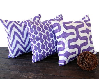 Throw pillows purple set of three decorative throw pillow covers grape cushion pillow sham