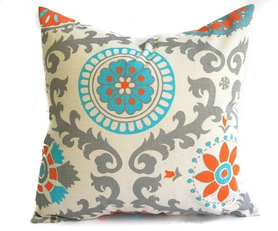Natural pillow cover One 18 x 18 Orange Natural by ThePillowPeople