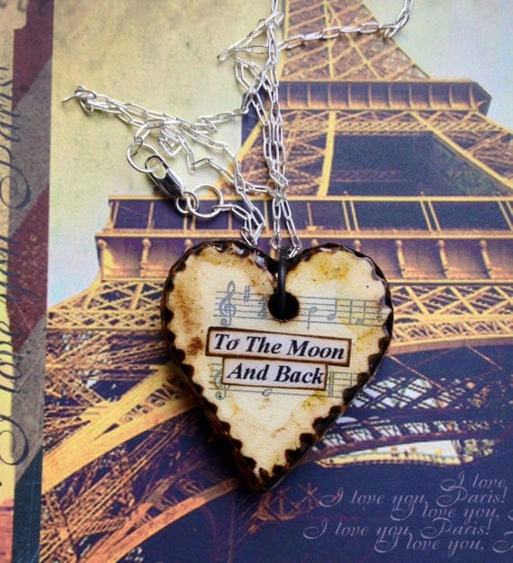Heart Pendant Necklace - I Love You to the Moon and Back - First Wedding Anniversary - Paper Jewelry