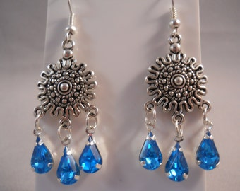 Silver and Blue Rhinestone Chandelier Earrings