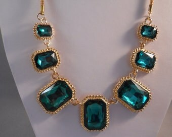 Emerald Green and Gold Crystal Beads on a Gold Tone Chain