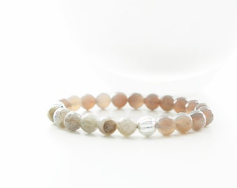 Faceted Labradorite and Faceted Grey Agate Corrugated Sterling Silver Beaded Bracelet