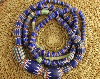 Antique Glass Chevron Bead