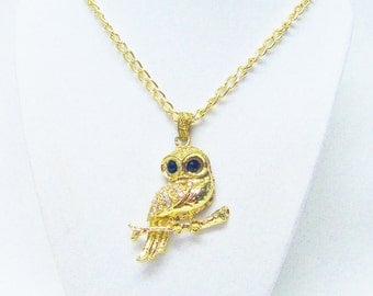 Gold Plated Owl w/Crystal Rhinestones Pendant Necklace
