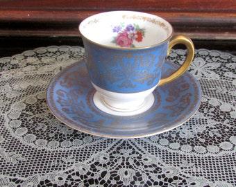 Cup & Saucer Set Blue Gold Puls Czechoslovakia Fine Bone China