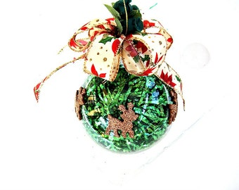 Large glass ornament, Tinsel filled Christmas ornament, Reindeer and Poinsettia Christmas ornament, Large handcrafted ornament (B72)