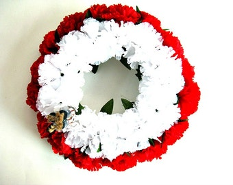 Patriotic candle ring, Memorial Day wreath, Fourth of July arrangement, Patriotic centerpiece, 4th of July flowers, Party decorations