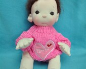 """Fretta's Original Peanut Baby Doll. 14"""" / 36 cm. Soft Sculpted Jointed Baby, Child Safe Cloth Doll"""