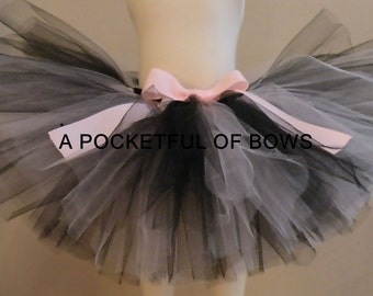 Tutu  Pink and Black, Girls Birthday Tutu Skirt