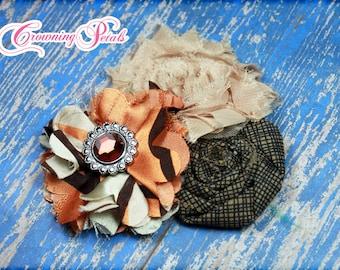 Fall Hair Piece, Orange, Beige, Brown Flower Headband, Hair Accessory, Fabric Flower Hair Clip,  Flower Brooch, Toddler Headband, Hair Bow