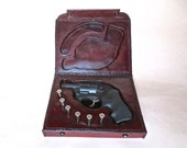 Leather presentation case for a .357 Magnum revolver, leather pistol case, leather firearm case, leather handgun case