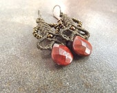 Macrame Earrings, Red Jasper Gemstone Earrings With Gray Green Thread