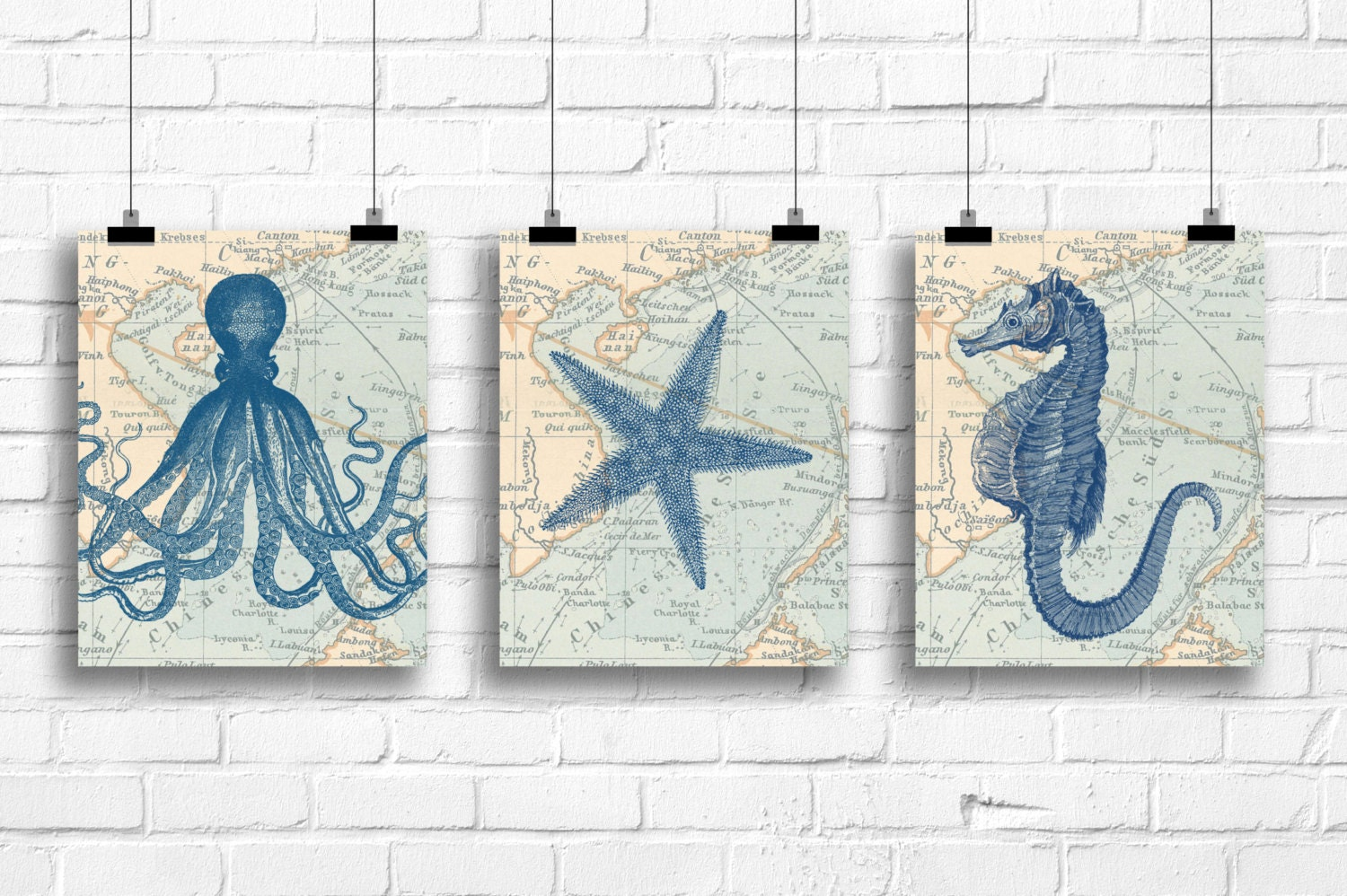 Set of vintage nautical prints octopus art print starfish