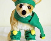 Small Dog Clothes Winter Green  Scarf, Leg Warmers, Head Band