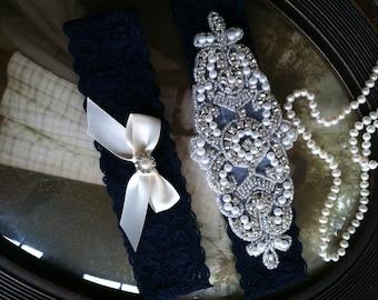 SALE-Wedding Garter-Garters-Stretch lace-navy blue-something blue-Garter-Rhinestone-Pearl garter-Keepsake-Gray-Lace Garter-bridal garter