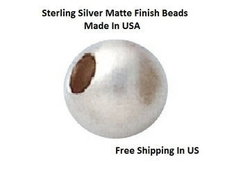 4 MM   Pkg. Of 24  Sterling Silver Matte Finish  Round beads    5304S