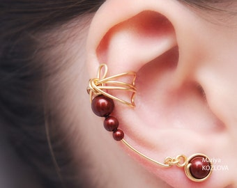 Right Ear Cuff Earrings Gold and Ripe Cherry Color Dragonfly's Wings-Genuine Swarovski Pearls, tarnish resistant wire