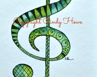 Digital art, g clef,  Zentangle art, Zentangle g clef, musical notation, music, B flat quote