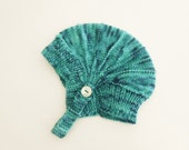 Organic Baby Hat Earflap Aviator Hat for Baby Boys Hand Knit Hand Dyed Teal Blue Green Chin Strap Button Tab 0 to 3 month