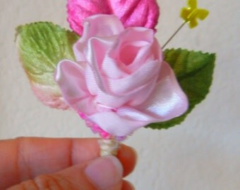 Pink Boutonniere with Butterfly Hat Pin