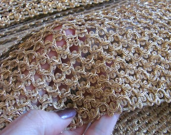Vintage Extra Wide Gold Metallic Elastic Gimp Trim Yardage - 5 Inch Wide - By the Yard