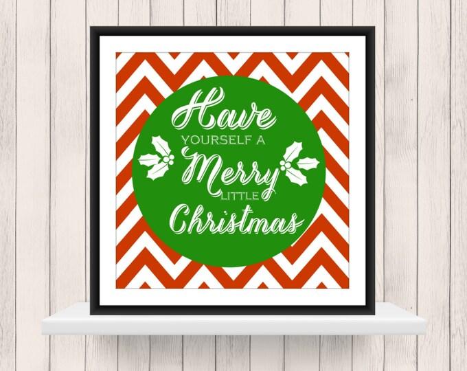 Christmas Decor -  Christmas Print on Chevron  Background  - Christmas  Word Art