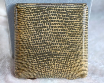 FREE SHIPPING Vintage Small Square Faux Snakeprint Powder Compact Mirror Gilt Interior