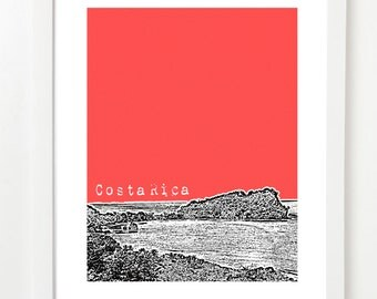 Costa Rica Skyline Poster - Central America City Skyline Series Art Print - 8x10 image