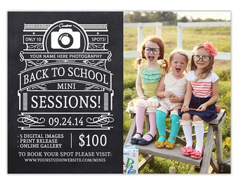 Back to School Mini Session Template, Photography Marketing Templates, Newsletter Template, Photoshop Templates for Photographers - AD151