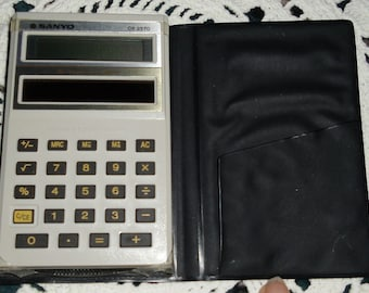 Vintage Calculator - Sanyo CX 2570 Calculator - Solar Power 1982 with Original Case