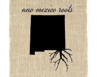 New Mexico Roots Unframed, Burlap Print, Burlap Art, Home Decor, Wall Art, Burlap, State Roots