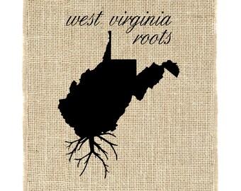 West Virginia Roots Unframed Burlap Print, Burlap Art, State Pride, Wall Art, Burlap, State Roots