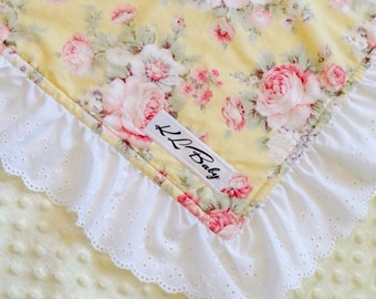 Vintage Yellow Rose Blanket