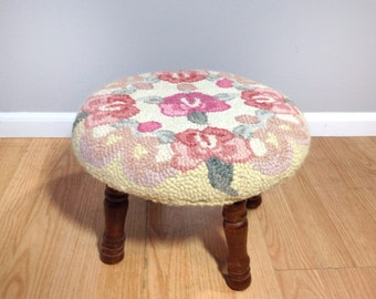 vintage round footstool with rose motif. shabby chic home decor. retro stool.