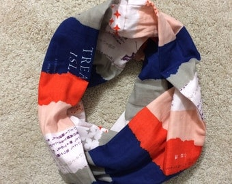 Double Gauze Infinity Scarf - Red, Pink, Navy and Grey Stripe