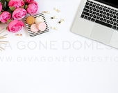SALE Styled stock photography pink roses with tech laptop computer for bloggers, websites product photos art prints stationery design