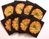 Bridge Tallies with Grey Felt Covers Orange Flowers (set of 8), Bridge Tallies, Tally, Card Games, Cards, Card Player, Bridge, Felt Tallies