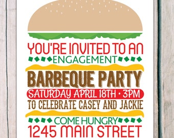 printed 'engagement party' 'bbq party' · engagement invitation · bbq invitation · engagement party invitation