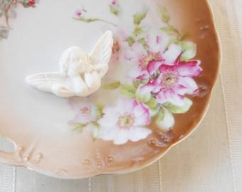 Vintage Bavaria Handpainted Porcelain Double Handle Plate, Cottage Style, Wedding, Tidbit Plate