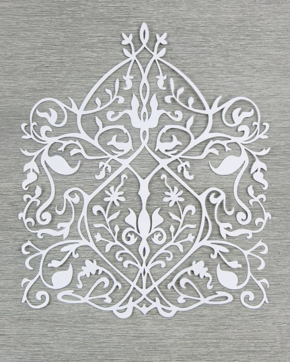 Wall Decoration By Paper Cutting : Floral design cut paper wall art bright white papercut