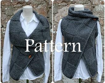 Knitting PATTERN-Big square wrap, sleeveless jacket pattern, cardigan  - Listing131