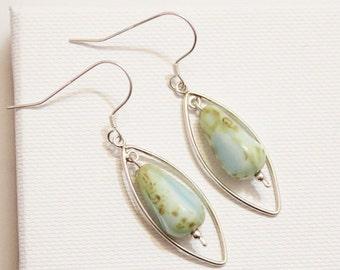 Sterling Turquoise Earrings, Czech Beads Earrings