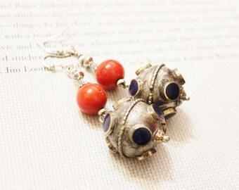 Vintage Ethnic Earrings ,Afghan Earrings, Lapis nd Silver Earrings
