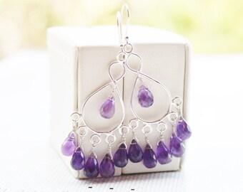 Purple Amethyst Sterling Silver Chandelier Earrings,February Birthstone