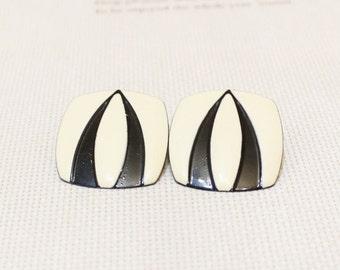 Vintage Black and White Earrings, Square Stud Earrings, Enamel Earrings