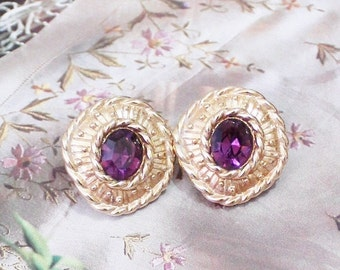 Vintage Gold Purple Rhinestone Earrings , Swarovski Earrings, Big Bold Earrings