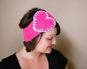 Crochet Hot Pink and White Heart Ear Warmer Head Wrap