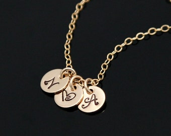Gold Initial Necklace, Personalized Necklace, Small Initial Disc Necklace, Love Necklace, Monogram Pendant.